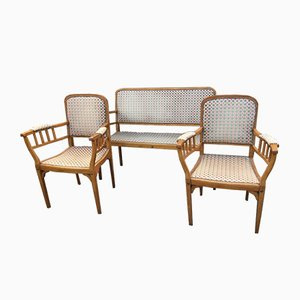 Vintage French Sofa and Lounge Chairs Set, 1940s