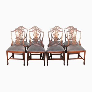 Mahogany Wheat Sheaf Dining Chairs, 1960s, Set of 8