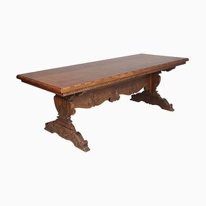 Vintage Renaissance Style Italian Carved Walnut Dining Table, 1940s