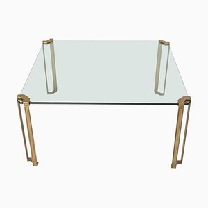 Large Vintage Glass and Brass Square Coffee Table by Peter Ghyczy for Ghyczy, 1970s
