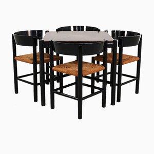 Juego de mesa y sillas de comedor de Mogens Lassen para Fritz Hansen, 1964. Juego de 5