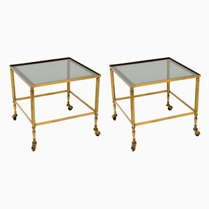 Mid-Century French Brass and Glass Side Tables, Set of 2