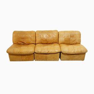 Cognac Leather Patchwork Modular Sofa, 1960