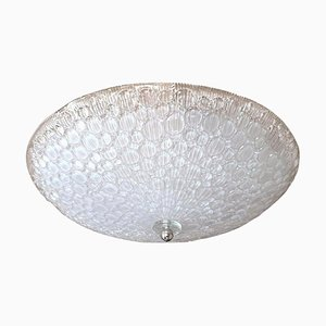 Large Mid-Century Murano Glass Flush Mount Ceiling Lamp from Mazzega, 1970s