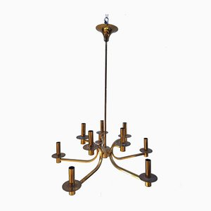 Italian Gilt Brass Chandelier, 1970s