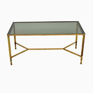 Mid-Century French Brass and Glass Coffee Table