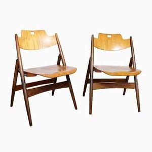 Sedie pieghevoli di Egon Eiermann, Germania, anni '50, set di 2