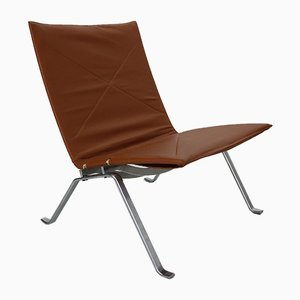 Leather Model PK22 Lounge Chair by Poul Kjærholm for E. Kold Christensen, 1950s
