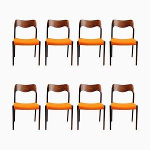 Esszimmerstühle aus Palisander von Niels Otto Møller, 1960er, 8er Set