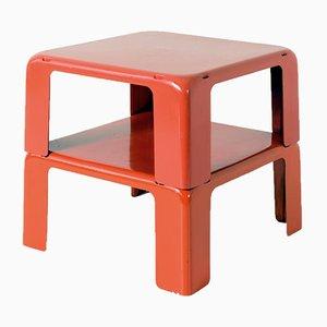 Rote italienische Modell Gatti Beistelltische von Mario Bellini für C + B Italia, 1960er, 2er Set