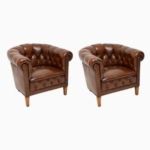 Antique Swedish Leather Lounge Chairs, 1910s, Set of 2