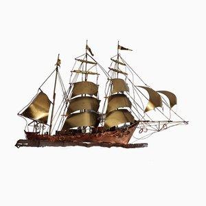 Aplique vintage barco de latón de Daniel d'Haeseleer, años 70