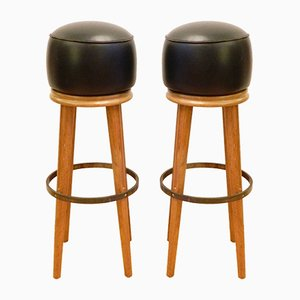 Walnut, Leather, and Brass Bar Stools, 1950s, Set of 2