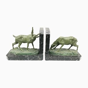 Art Deco Deer Bookends, 1930s, Set of 2