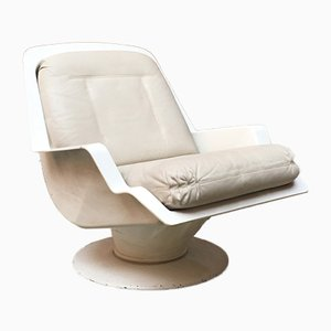 Vintage Space Age Italian White and Beige Leather Lounge Chair, 1970s