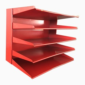 Mid-Century Red Metal File Sorter