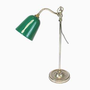 Lampada da tavolo in vetro opalino verde, anni '30