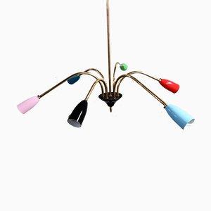 Lámpara de araña Spider de latón, años 50