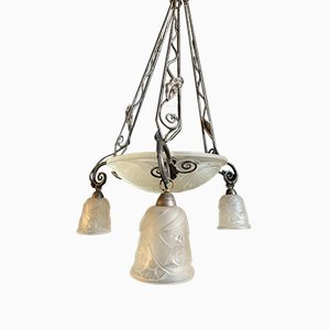 Vintage French Model 701 Wrought Iron and Molded Glass Ceiling Lamp by Louis Fontaine for L'Elf