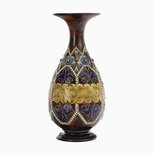 Antique Stoneware Vase by Elizabeth Fisher for Doulton Lambeth, 1880s
