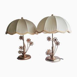 German Brass and Golden Glass Table Lamps from Palwa Leuchten, 1960s, Set of 2