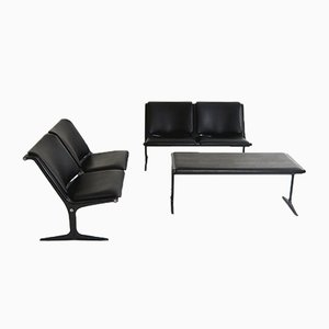 2-Seat Benches & Table by Friso Kramer for Wilkhahn, 1970s, Set of 3