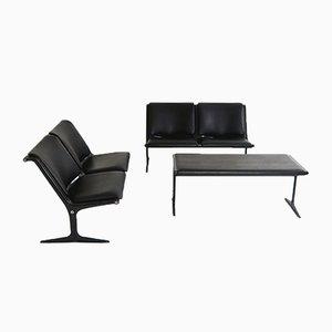 Banco y mesa con dos asientos de Friso Kramer para Wilkhahn, años 70. Juego de 3