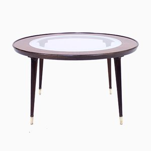 Mid-Century Scandinavian Glass and Rosewood Coffee Table