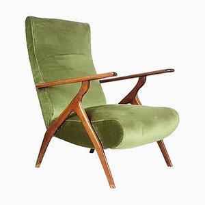 Butaca reclinable de madera y terciopelo verde, años 50