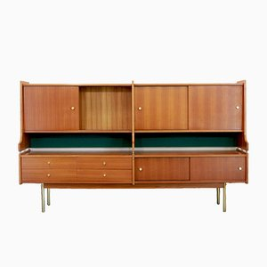 Skandinavisches Sideboard aus Teak & Messing, 1950er
