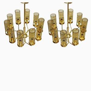 Brass Model T10 Chandeliers by Hans-Agne Jakobsson for Hans-Agne Jakobsson AB Markaryd, 1970s, Set of 2