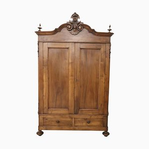 Antique Italian Solid Walnut Wardrobe, 1850s