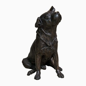 Bronze Dog Sculpture by Franz Canins, 1980s