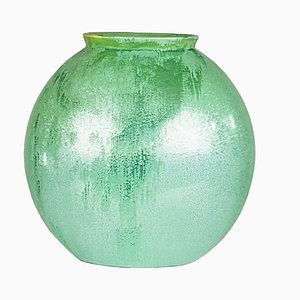 Italian Teal-Green Ceramic Vase by Guido Andloviz for SCI Laveno, 1940s