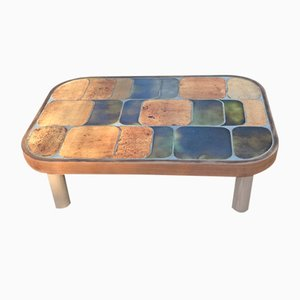 Oak & Ceramic Coffee Table by Roger Capron, 1960s