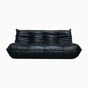 Large French Black Leather Togo Sofa by Michel Ducaroy for Ligne Roset, 1980s
