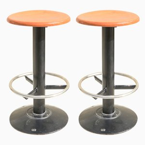 Italian Iron and Wood Stools, 1980s, Set of 2
