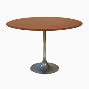 Mid-Century Italian Metal and Teak Tulip Table, 1970s