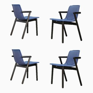 Black Lacquered Wood and Blue Dining Chairs from Cassina, 1980s, Set of 4