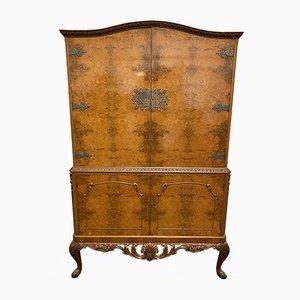 Vintage Queen Anne Style Burl Walnut Cabinet, 1920s