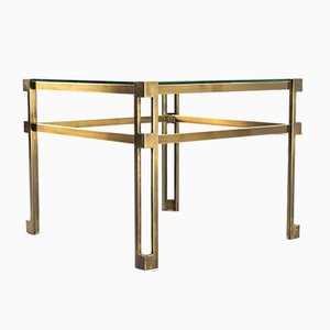 Hollywood Regency Brass and Glass Side Tables, 1970s, Set of 2