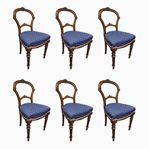 Chaises de Salle à Manger Victoriennes Antiques en Noyer, Set de 6