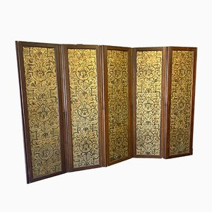 19th Century Embossed Leather and Oak Room Divider