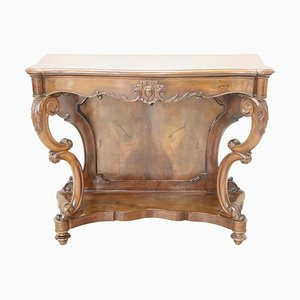 Antique Carved Walnut Console Table, 1840s