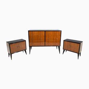 Commode et Tables de Chevet Mid-Century, Set de 3