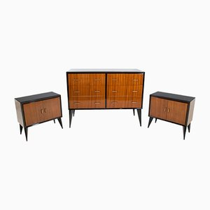 Mid-Century Chest of Drawer & Nightstands, Set of 3