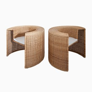 Vintage Italian Rattan Armchairs, Set of 2