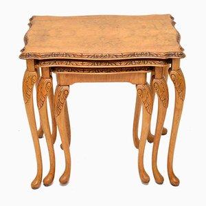 Tavolini ad incastro in stile Queen Anne vintage in noce, anni '30, set di 3