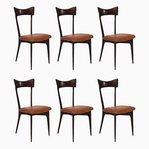 Esszimmerstühle mit cognacfarbenen Lederbezügen von Ico Parisi für Ariberto Colombo, 1950er, 6er Set