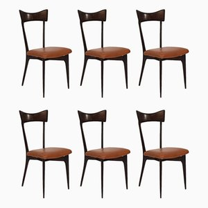 Cognac Leather Dining Chairs by Ico Parisi for Ariberto Colombo, 1950s, Set of 6